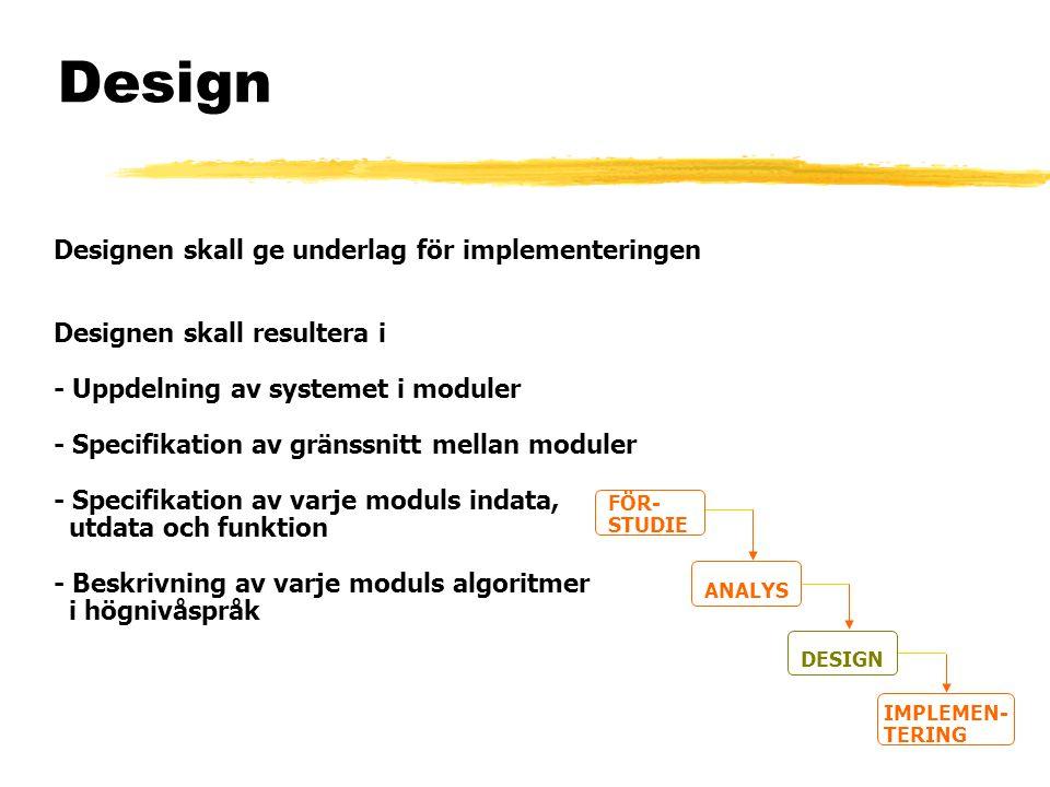 Design Designen skall ge underlag för implementeringen