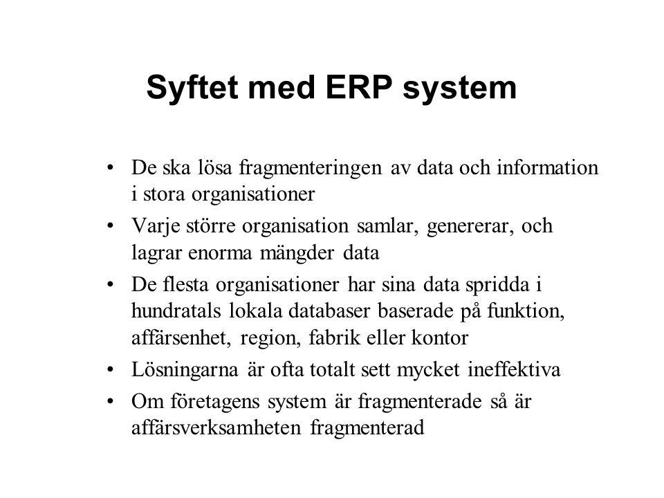 Syftet med ERP system De ska lösa fragmenteringen av data och information i stora organisationer.