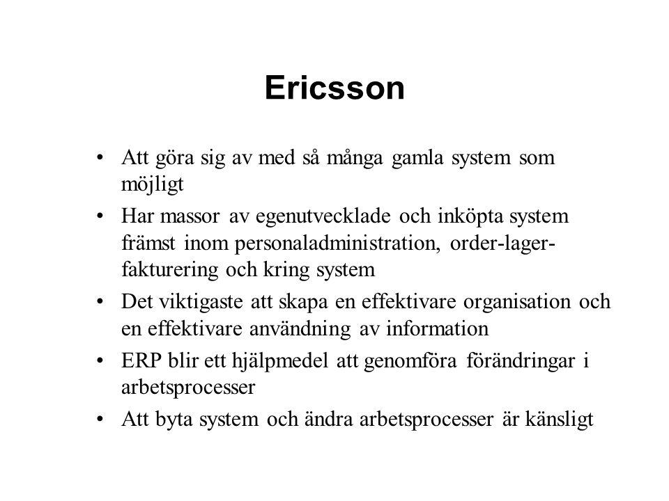 Ericsson Att göra sig av med så många gamla system som möjligt