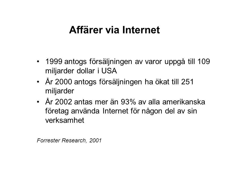 Affärer via Internet 1999 antogs försäljningen av varor uppgå till 109 miljarder dollar i USA.