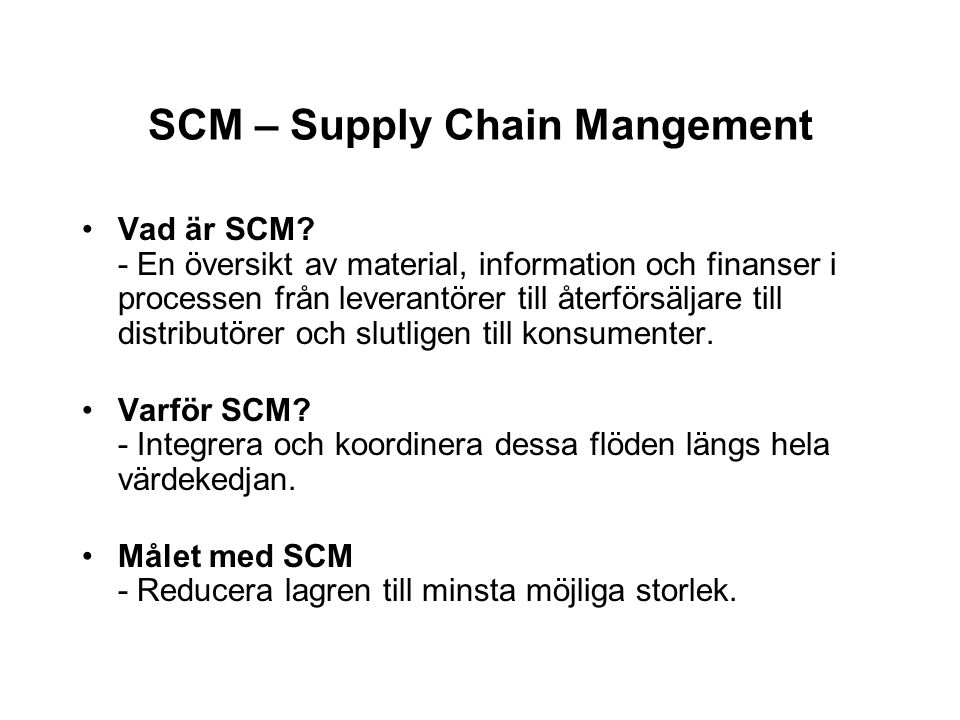 SCM – Supply Chain Mangement