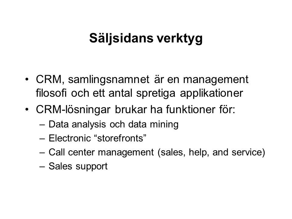 Säljsidans verktyg CRM, samlingsnamnet är en management filosofi och ett antal spretiga applikationer.