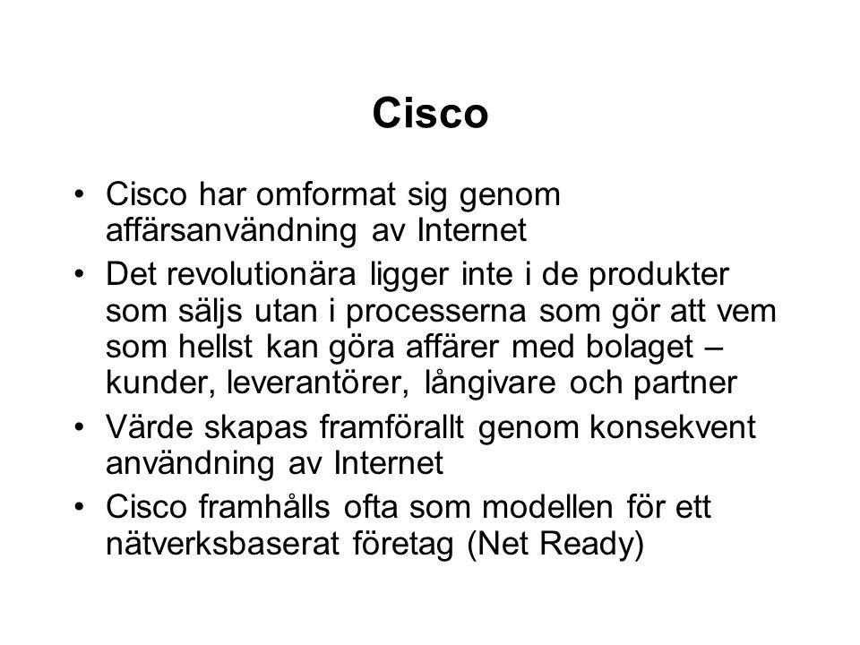 Cisco Cisco har omformat sig genom affärsanvändning av Internet