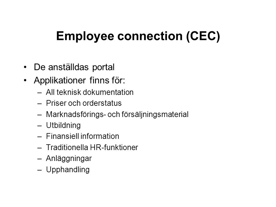 Employee connection (CEC)