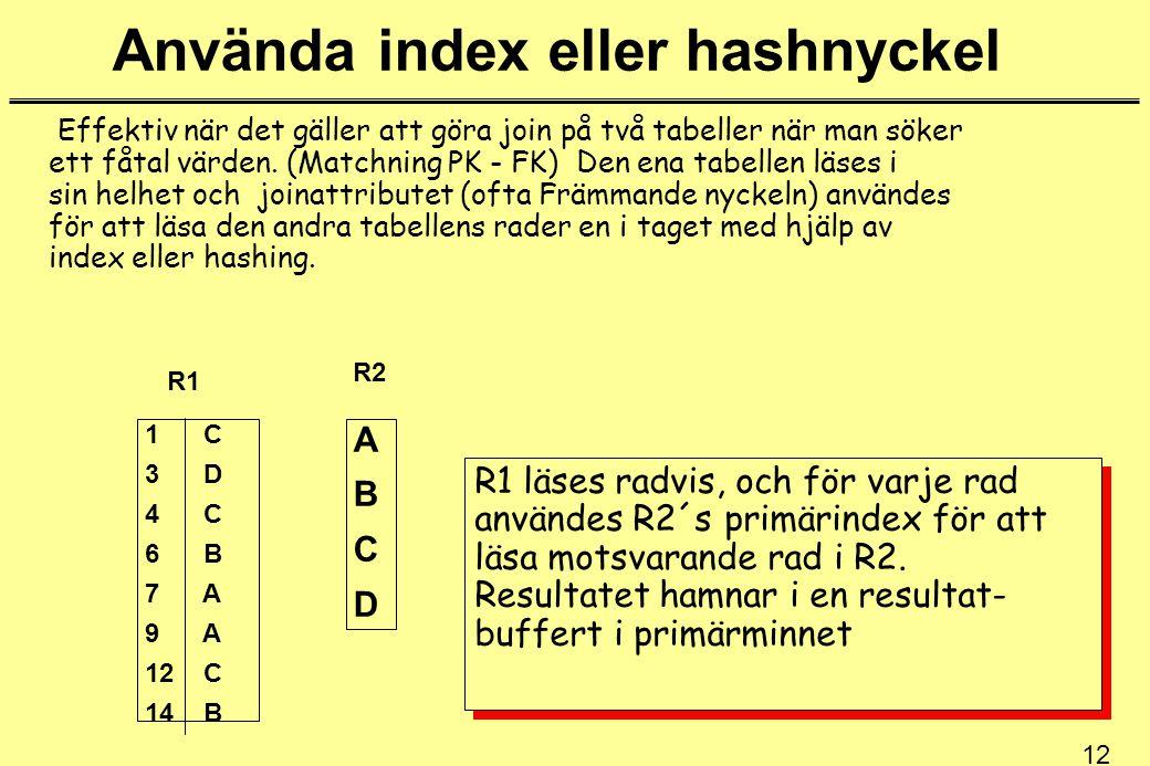 Använda index eller hashnyckel