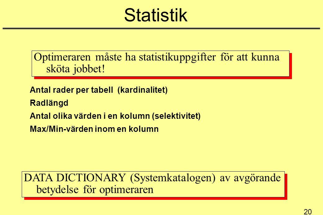 Statistik Optimeraren måste ha statistikuppgifter för att kunna sköta jobbet! Antal rader per tabell (kardinalitet)