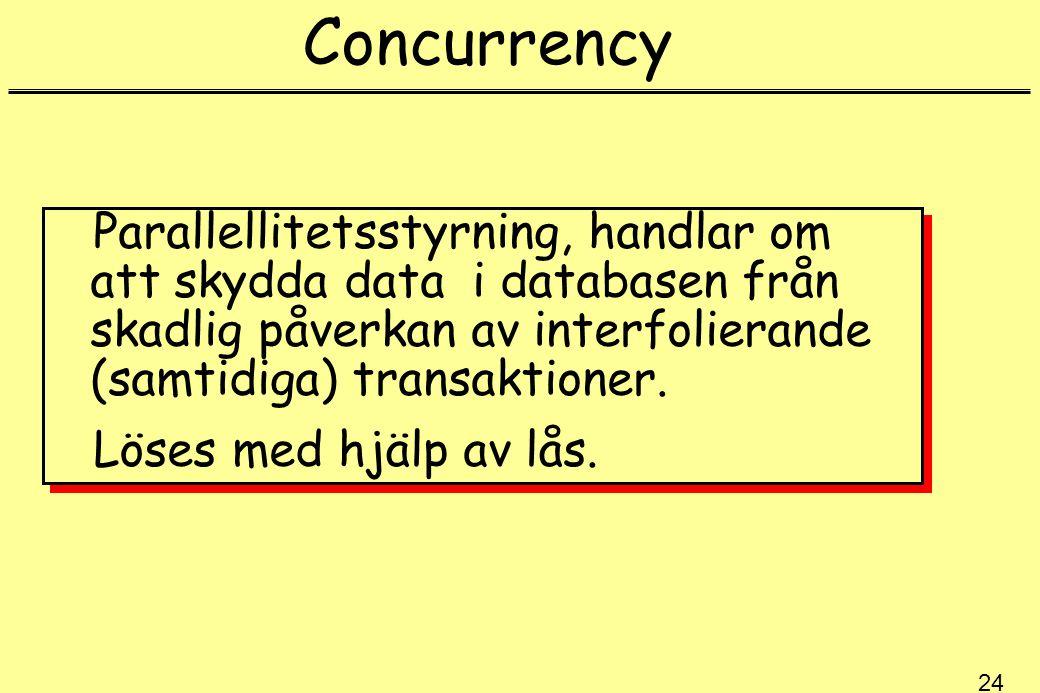 Concurrency Parallellitetsstyrning, handlar om att skydda data i databasen från skadlig påverkan av interfolierande (samtidiga) transaktioner.