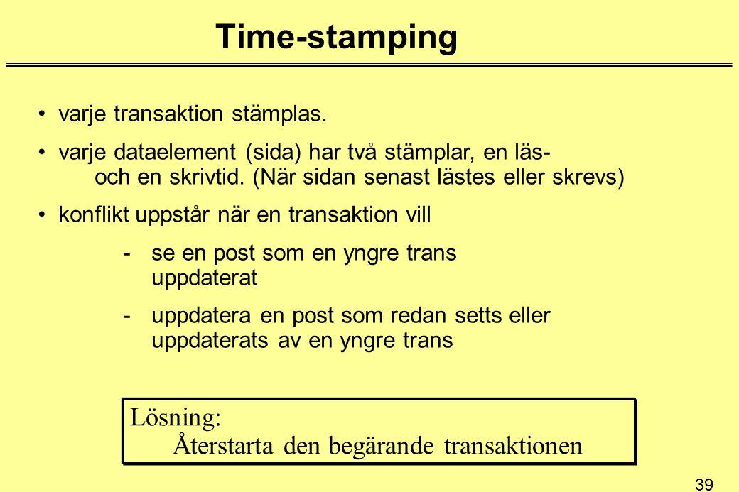 Time-stamping Lösning: Återstarta den begärande transaktionen