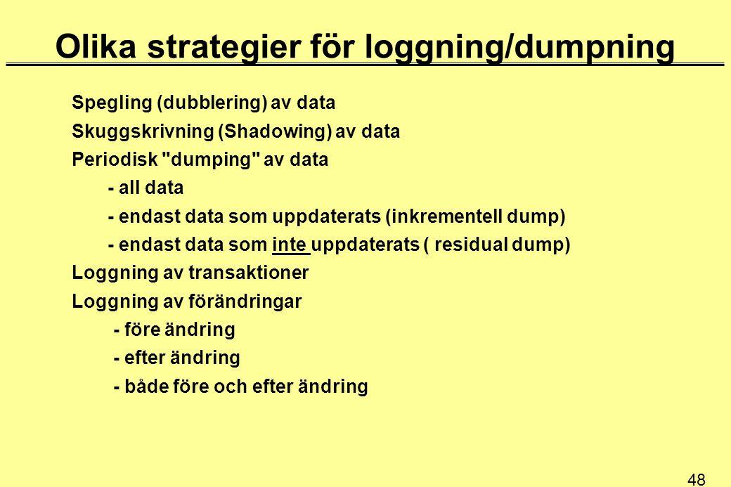 Olika strategier för loggning/dumpning