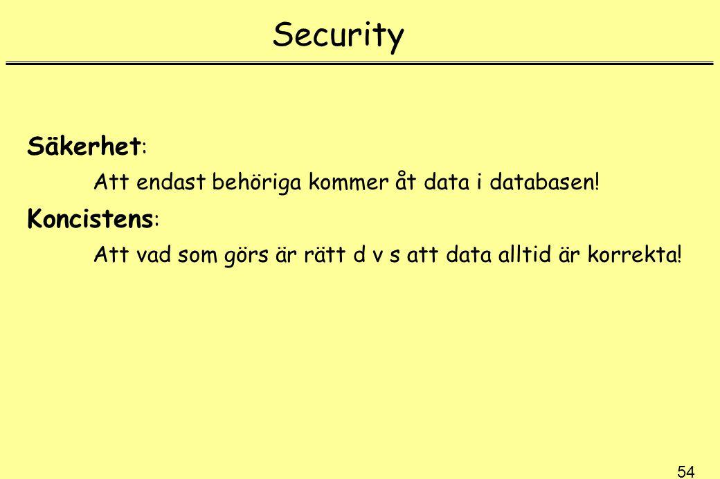 Security Säkerhet: Koncistens: