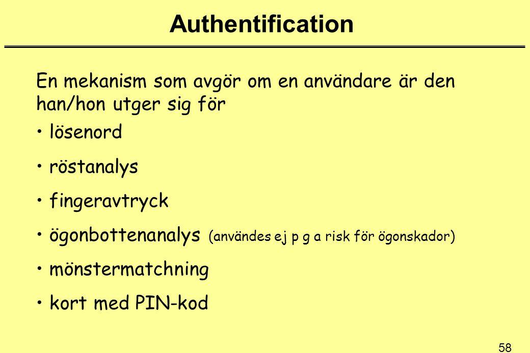 Authentification En mekanism som avgör om en användare är den han/hon utger sig för. lösenord. röstanalys.