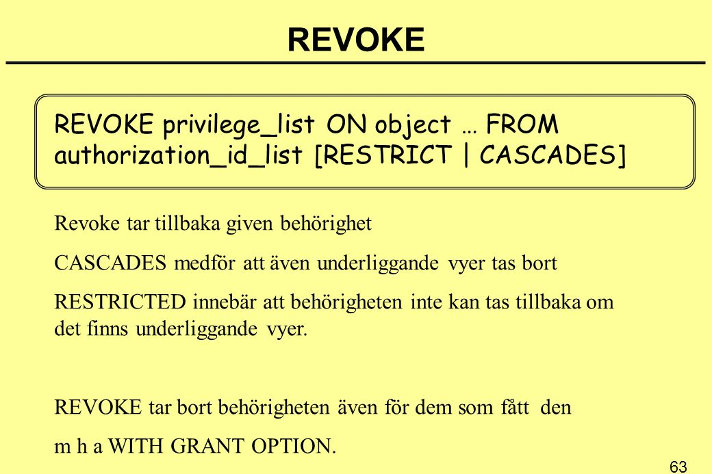 REVOKE REVOKE privilege_list ON object … FROM