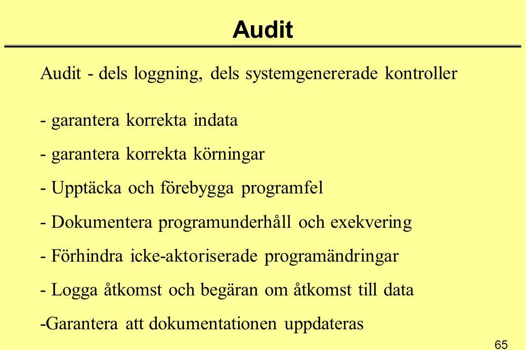 Audit Audit - dels loggning, dels systemgenererade kontroller