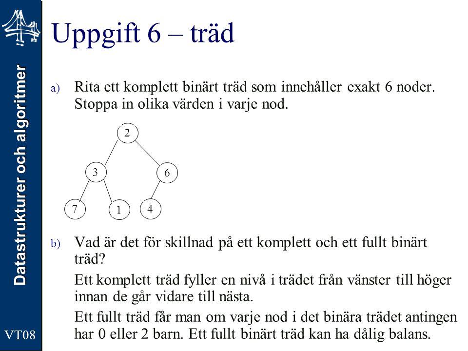 Uppgift 6 – träd Rita ett komplett binärt träd som innehåller exakt 6 noder. Stoppa in olika värden i varje nod.
