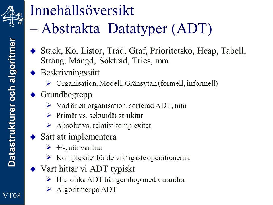 Innehållsöversikt – Abstrakta Datatyper (ADT)