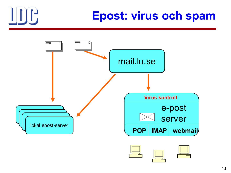 mail.lu.se e-post server POP IMAP webmail Virus kontroll