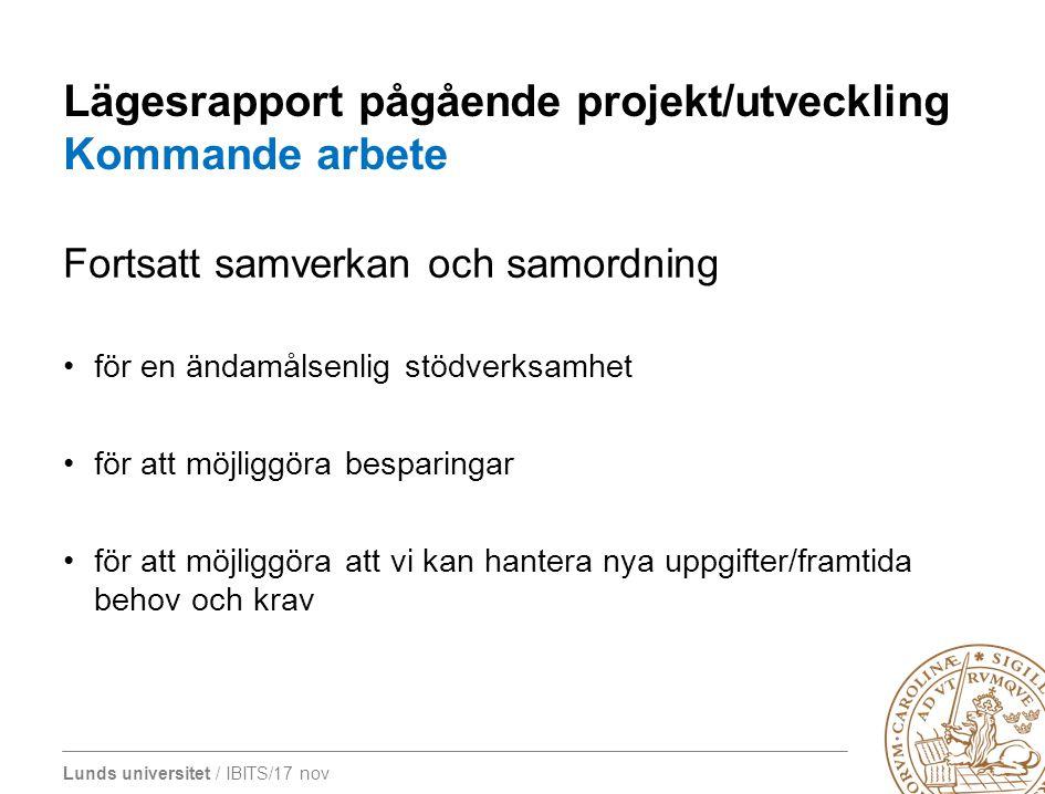 Lägesrapport pågående projekt/utveckling Kommande arbete