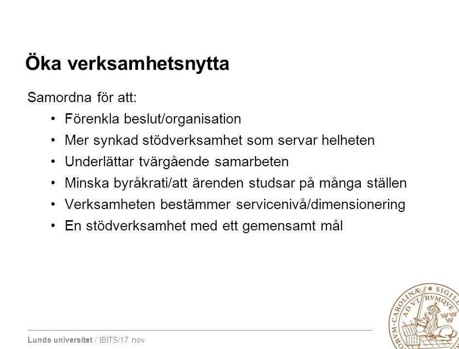 Öka verksamhetsnytta Samordna för att: Förenkla beslut/organisation