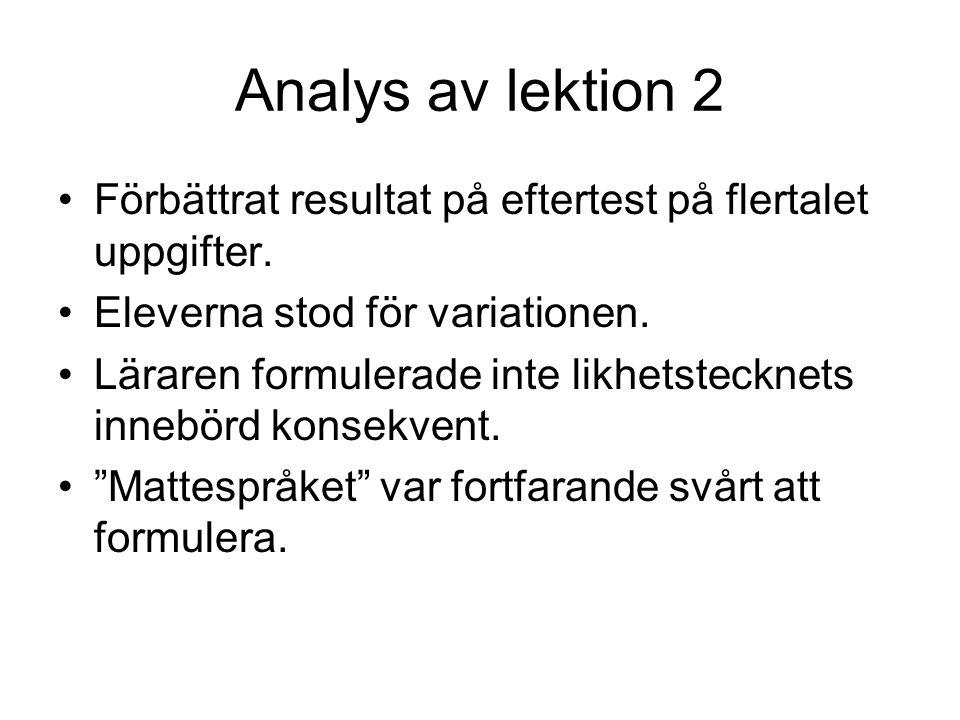 Analys av lektion 2 Förbättrat resultat på eftertest på flertalet uppgifter. Eleverna stod för variationen.