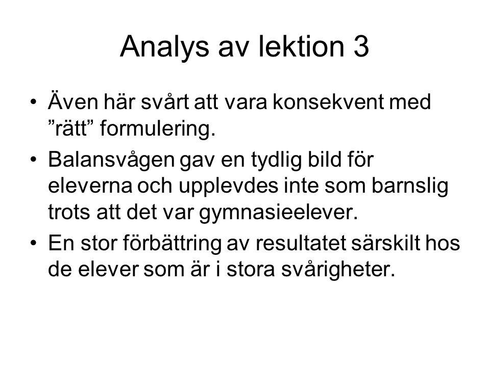 Analys av lektion 3 Även här svårt att vara konsekvent med rätt formulering.