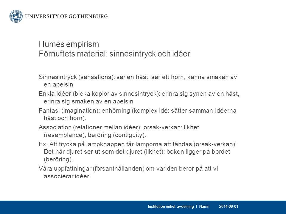Humes empirism Förnuftets material: sinnesintryck och idéer