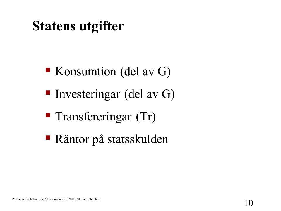 Statens utgifter Konsumtion (del av G) Investeringar (del av G)