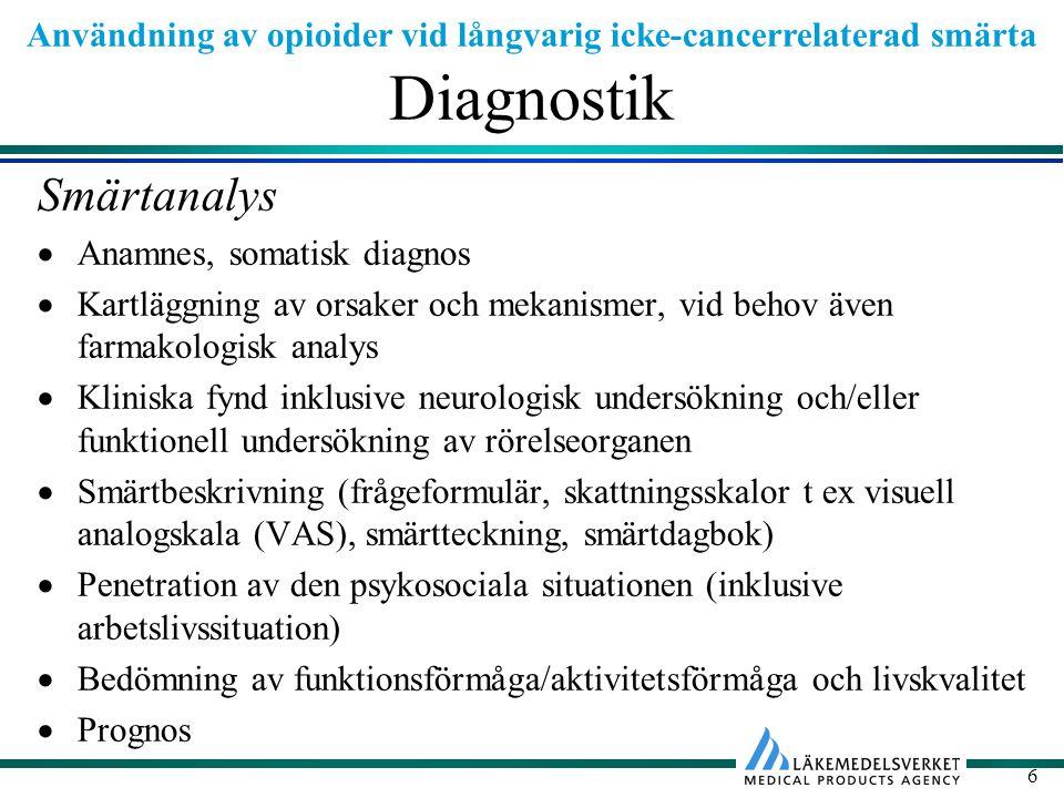 Diagnostik Smärtanalys Anamnes, somatisk diagnos