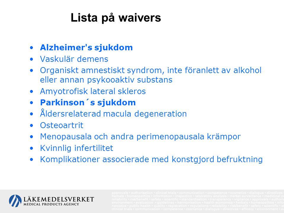 Lista på waivers Alzheimer s sjukdom Vaskulär demens