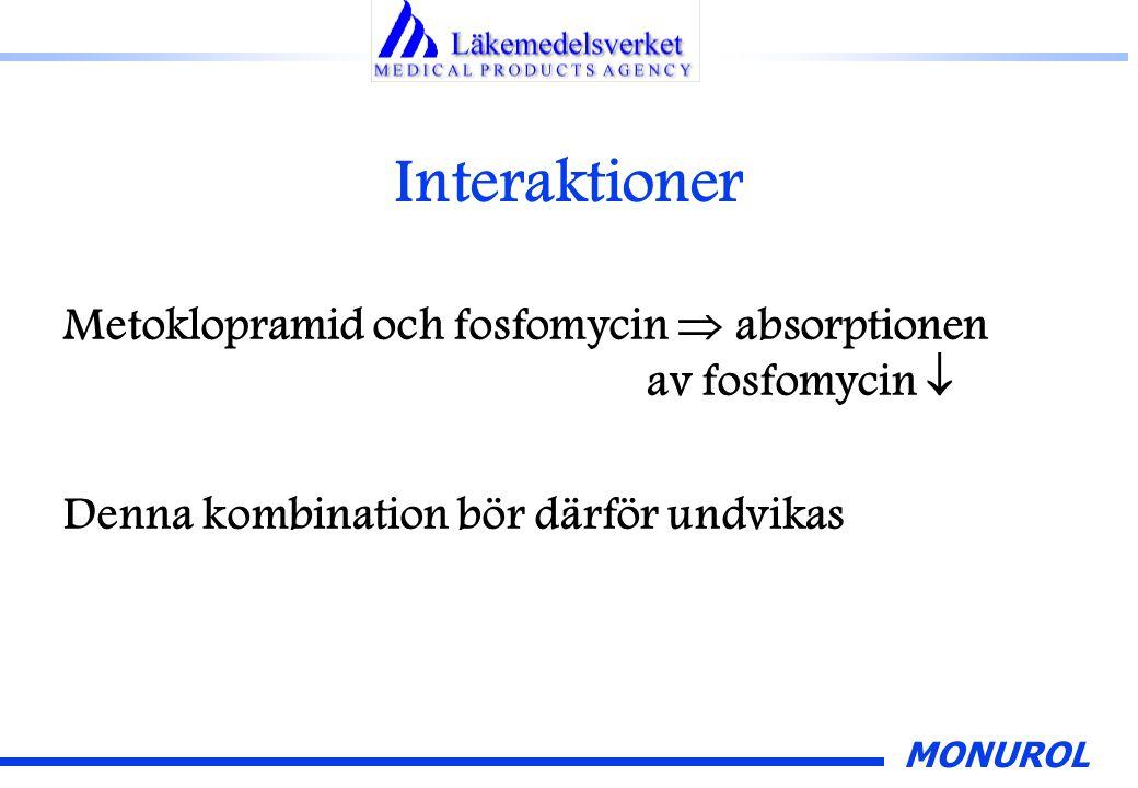Interaktioner Metoklopramid och fosfomycin  absorptionen av fosfomycin  Denna kombination bör därför undvikas.