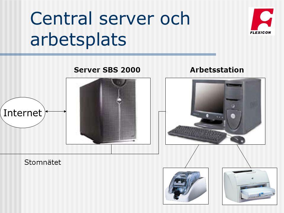 Central server och arbetsplats