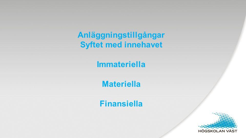 Anläggningstillgångar Syftet med innehavet Immateriella Materiella Finansiella