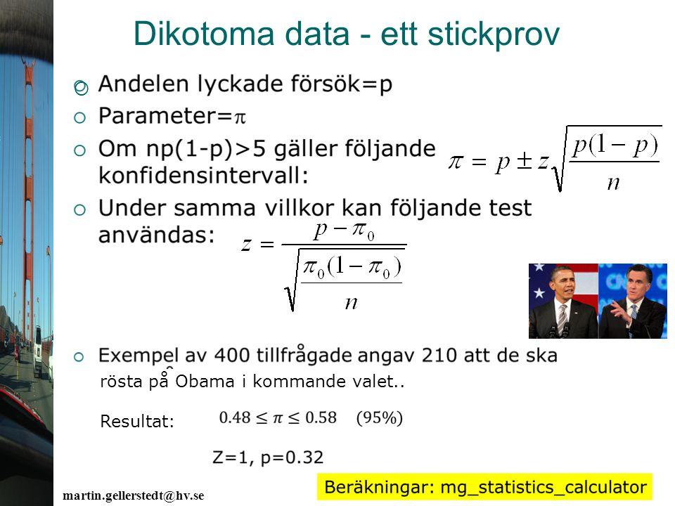 Dikotoma data - ett stickprov