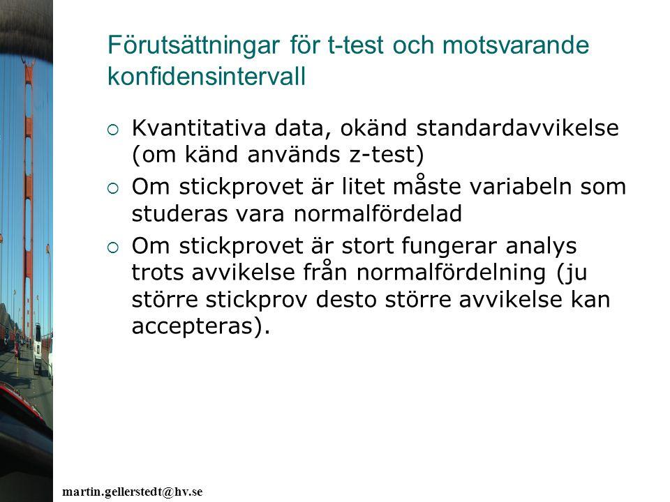 Förutsättningar för t-test och motsvarande konfidensintervall