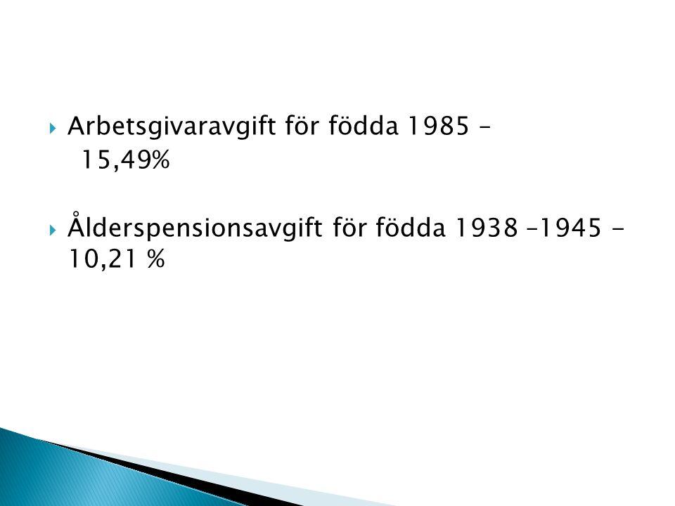Arbetsgivaravgift för födda 1985 –