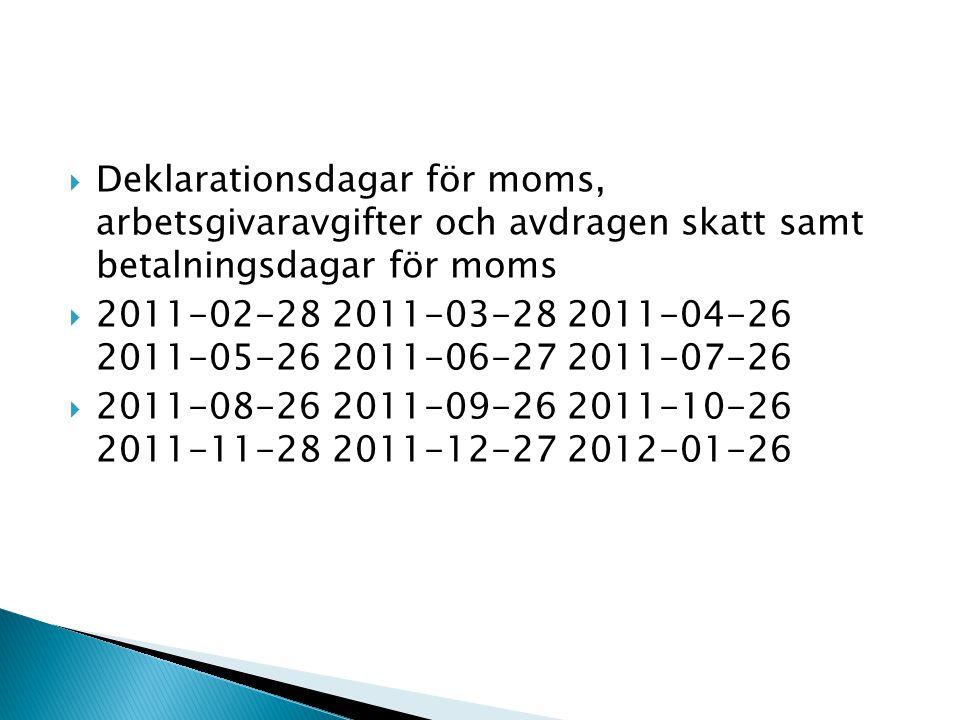 Deklarationsdagar för moms, arbetsgivaravgifter och avdragen skatt samt betalningsdagar för moms