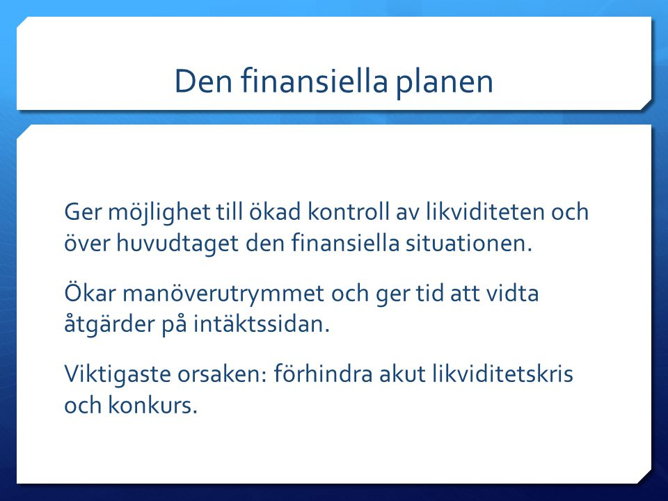 Den finansiella planen