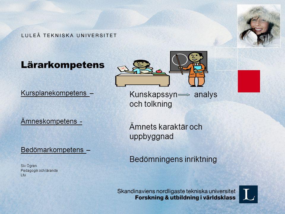 Lärarkompetens Kunskapssyn analys och tolkning