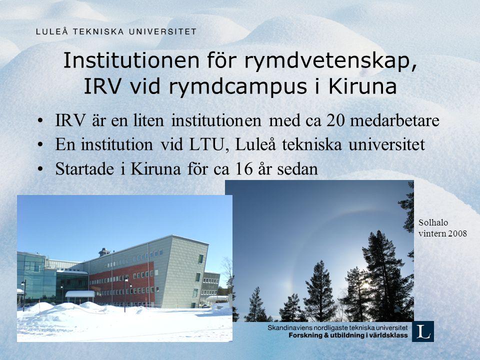 Institutionen för rymdvetenskap, IRV vid rymdcampus i Kiruna