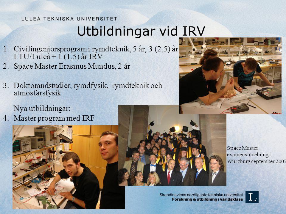 Utbildningar vid IRV Civilingenjörsprogram i rymdteknik, 5 år, 3 (2,5) år LTU/Luleå + 1 (1,5) år IRV.