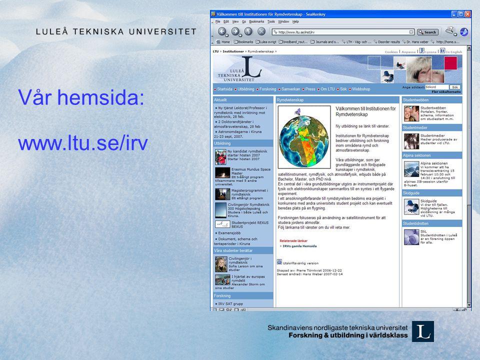 Vår hemsida: www.ltu.se/irv