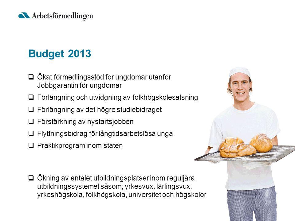 Budget 2013 Ökat förmedlingsstöd för ungdomar utanför Jobbgarantin för ungdomar. Förlängning och utvidgning av folkhögskolesatsning.