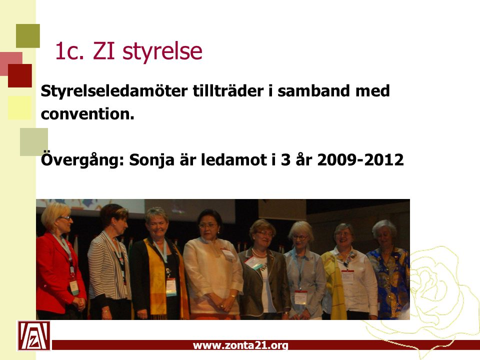1c. ZI styrelse Styrelseledamöter tillträder i samband med convention.