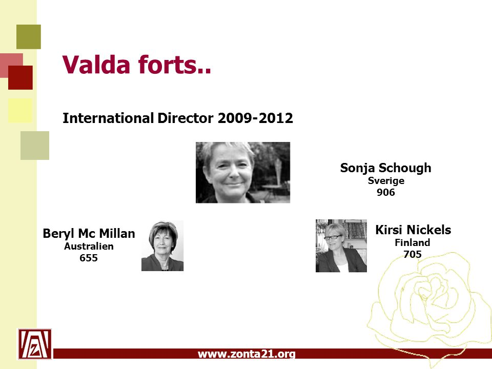 Valda forts.. International Director 2009-2012 Sonja Schough