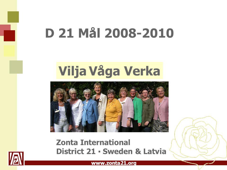D 21 Mål 2008-2010 Vilja Våga Verka Zonta International District 21 ▪ Sweden & Latvia 23