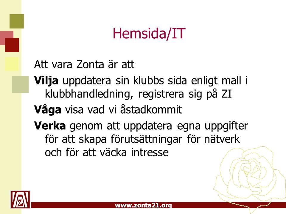 Hemsida/IT Att vara Zonta är att