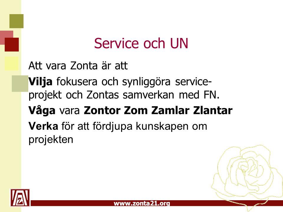 Service och UN Att vara Zonta är att