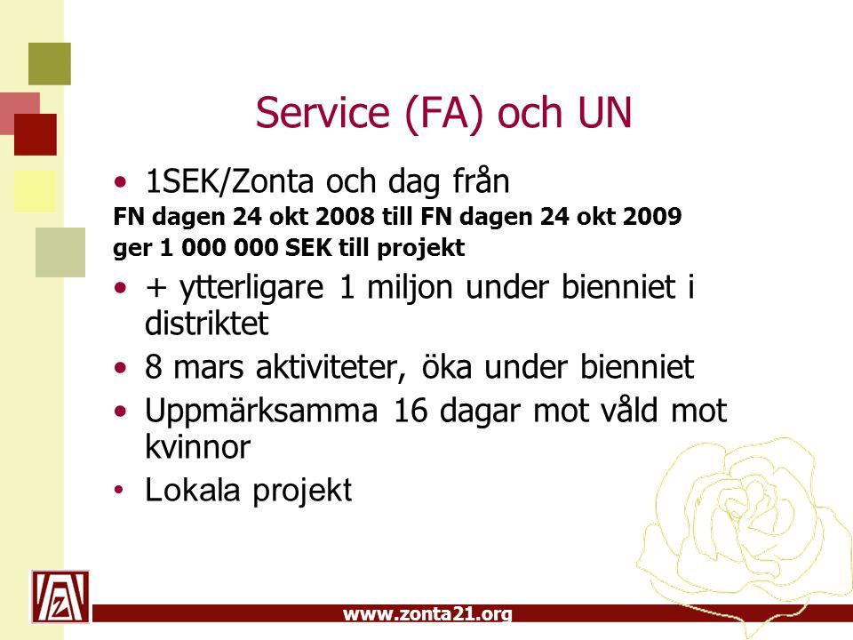 Service (FA) och UN 1SEK/Zonta och dag från