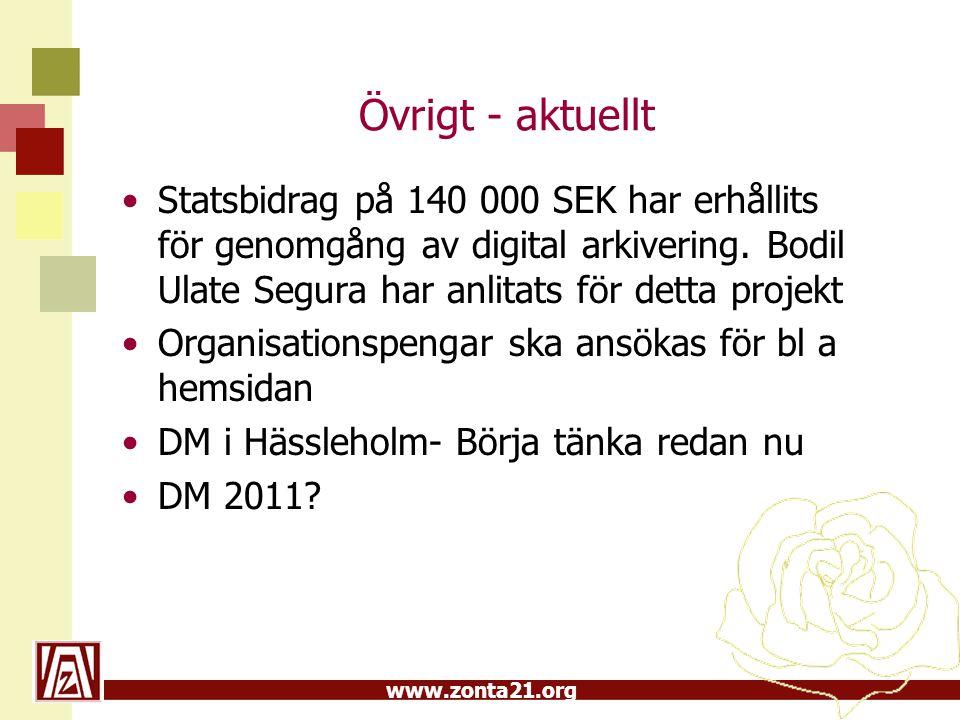 Övrigt - aktuellt Statsbidrag på 140 000 SEK har erhållits för genomgång av digital arkivering. Bodil Ulate Segura har anlitats för detta projekt.