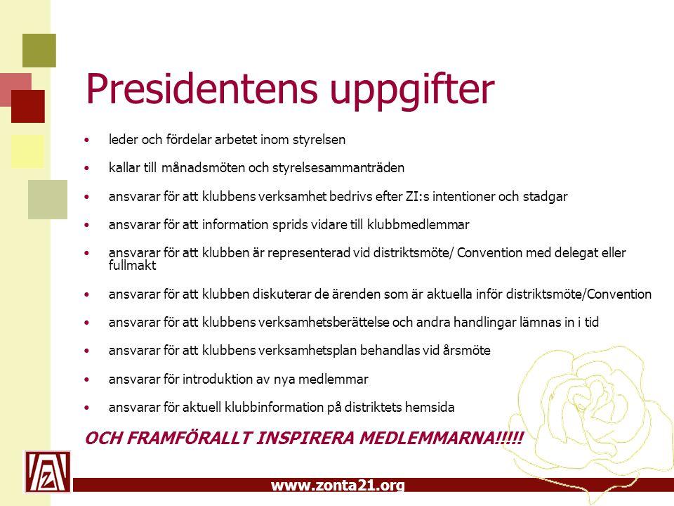 Presidentens uppgifter