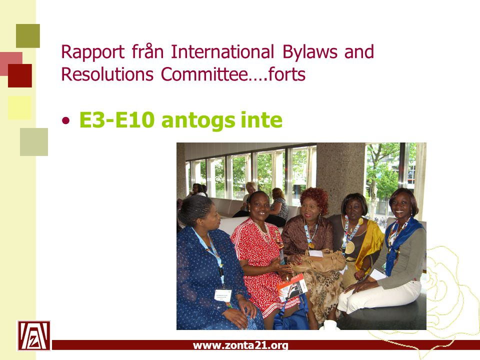 Rapport från International Bylaws and Resolutions Committee….forts